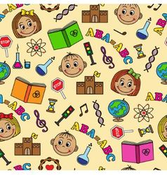 Seamless pattern with children and school symbols vector