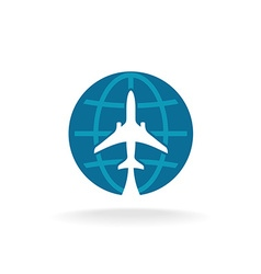 Earth globe with plane logo vector