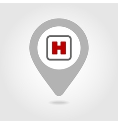 Hospital sign map pin icon vector