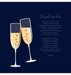 Glasses of champagne isolated on dark blue vector