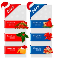 set of winter color christmas signs vector image