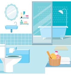 Bathroom interior and furniture inside vector