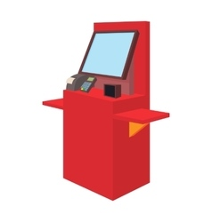 Cash desk with terminal in supermarket icon vector