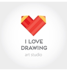 Art and design heart red pencils abstract vector image vector image