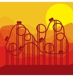 background roller coaster in amusement park vector image