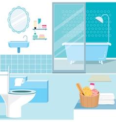 Bathroom interior and furniture inside vector