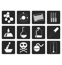 Black chemistry industry icons vector