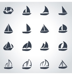 black sailboat icon set vector image