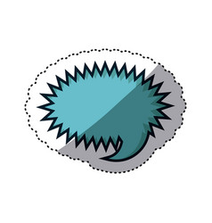 Blue sticker rounded callout scream for dialogue vector
