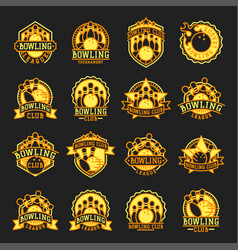 bowling emblem and yellow design element vector image