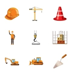 Building tools icons set cartoon style vector