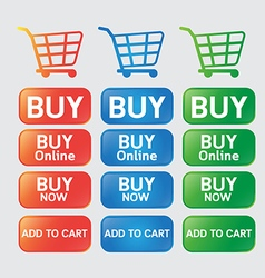 Button buy online shopping cart vector