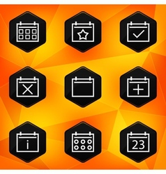 Calenadar Hexagonal icons set on abstract orange vector image vector image