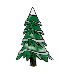christmas tree pine decoration ornament design vector image