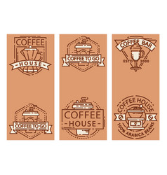 coffee cards food design thin line for restaurant vector image vector image