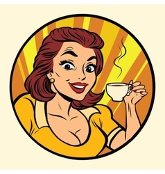 Comic young beautiful woman drinking coffee vector