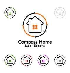 compass home represented Real estate logo vector image vector image