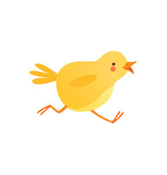 Cute baby chicken running funny cartoon bird vector