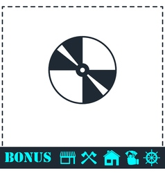 Disc icon flat vector
