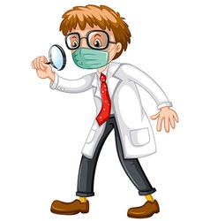 Doctor looking through magnifying glass vector