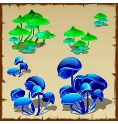 Green and blue fictional mushroom vector