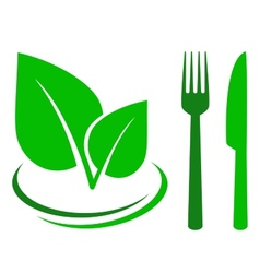 Green sign with leaf and cutlery vector