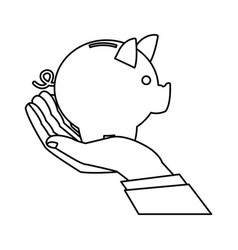 hand business man holding piggy bank image vector image