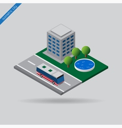 Isometric city - bus on road house trees pool vector