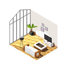 Living room interior isometric composition vector