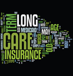 Long term care insurance text background word vector
