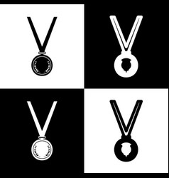 Medal simple sign black and white icons vector