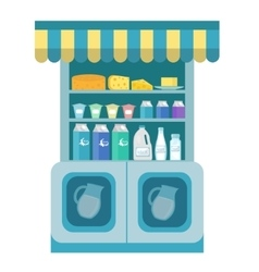 Milk products showcase dairy shelf in the store vector image vector image