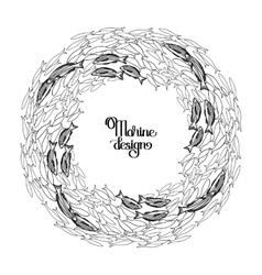Ocean fish wreath vector image vector image