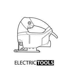 Outline electric jigsaw vector