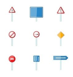 Road sign icons set cartoon style vector image