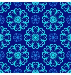 Seamless Mandala Pattern over blue vector image vector image