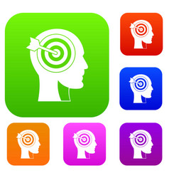 target in human head set color collection vector image