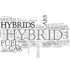 Why buy a hybrid car text word cloud concept vector