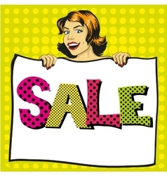 Woman holds white paper poster with Sale sign Pop vector image