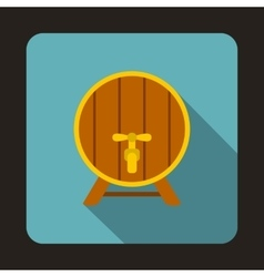 Wooden beer barrel icon flat style vector