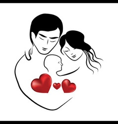 Family heart icon symbol parents sketch of lovely vector