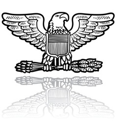 Doodle us military insignia eagle vector