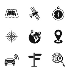 Navigation icons set simple style vector