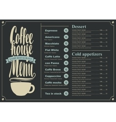 Menu with price for the coffee house vector