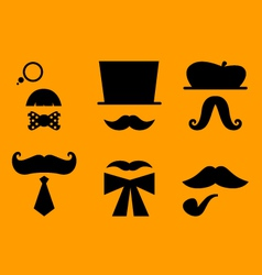 Mustaches and hats retro accessories vector image