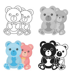 Teddy bears icon in cartoon style isolated on vector