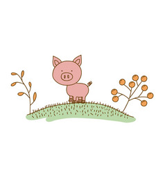 Watercolor hand drawn silhouette of pig in hill vector