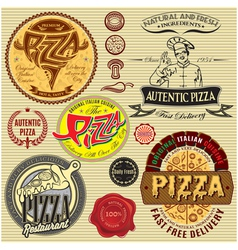 set of icons on a theme a pizza delivery restauran vector image