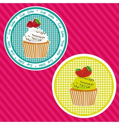 Two labels cupcakes background lines vector