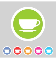 Tea coffee cup flat icon sign vector